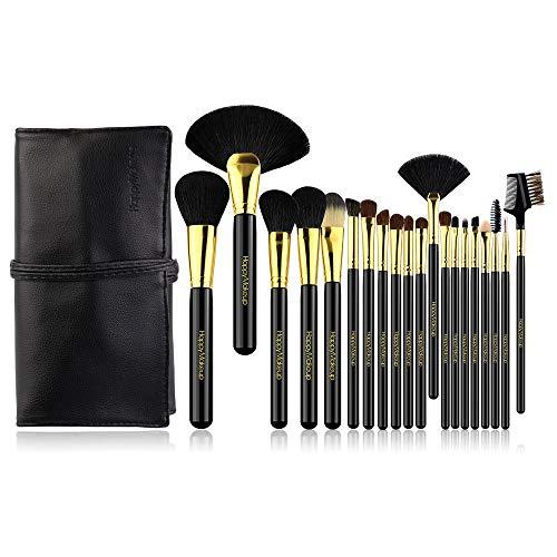 Pinceaux Maquillages Professionnels Kit de 8pcs, Poils Synthétiques Vegan, Soyeux et Denses,(Poudres, Crèmes, Liquides) Costume 20 pièces, noir