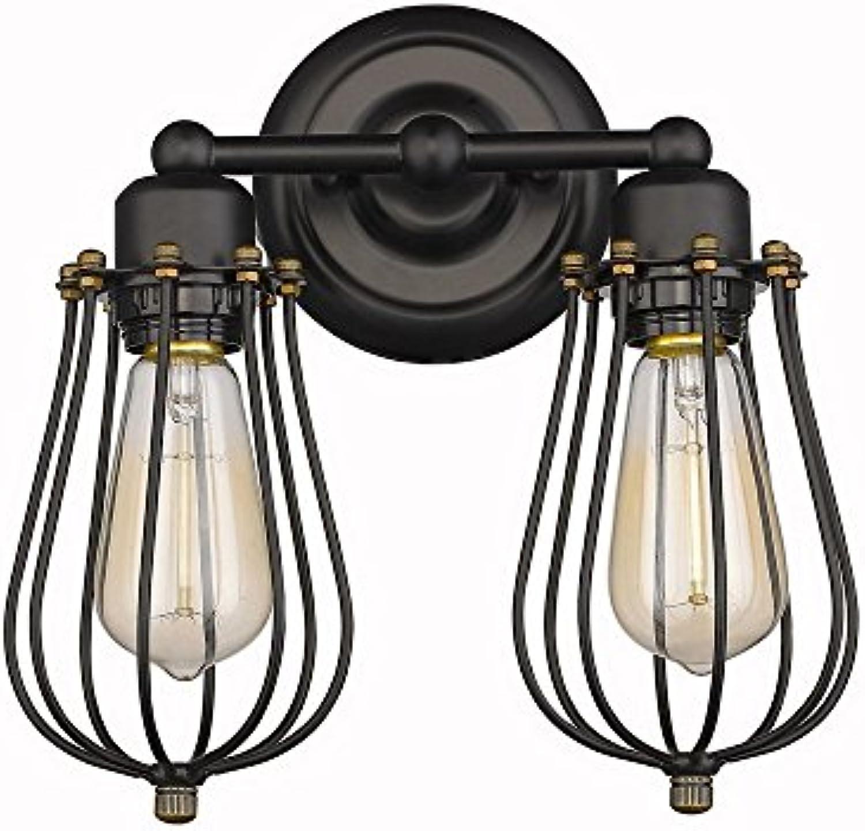 M-zmds Europische Vintage Industrial Mini Wandleuchte Wandlampen Metallkfig E27 2-lights Wandlaterne für Schlafzimmer Wohnzimmer Nacht Korridor Gang Balkon Halterung Licht