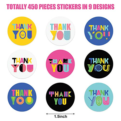 450 Piece Thank You Labels Stickers Seals with 9 Designs, 1.5 inch Round Stickers Envelope Seals Labels for Cards Gift Box Candy Bags Party Favors Photo #5
