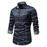 XUEbing Camisas de vestir para hombre de manga larga casual slim fit impreso Pliad botón abajo camisas cuello ligero Tops blusa, azul marino, XXL