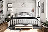 Novogratz Bushwick Metal Bed with Headboard and Footboard | Modern Design | King Size - Black