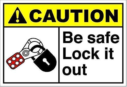 FANGJIA Cartel de aluminio para decoración de pared con texto en inglés «Be Safe Lock It Out», para bares, restaurantes, cafeterías, pubs, hogar, café, 20 x 30 cm