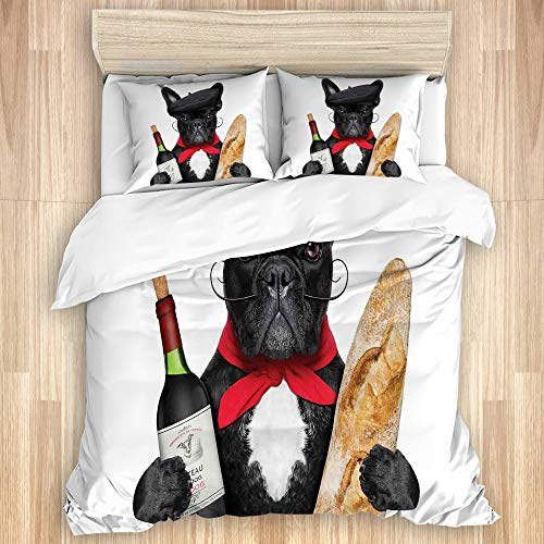 VINISATH Washed Cotton Duvet Cover Set,French Dog in a Hat with Red Wine and Bread Gourmet Parisienne Animal,3 Pieces Luxury Soft Bedding Set King Size(No Comforter)