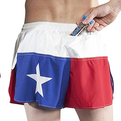 BOA Mens 1.5' Ultra Beefy Split Running Short (1260B)(Texas Flag, Medium)