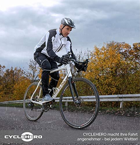 CYCLEHERO Thermohose Herren (schwarz-weiß, S) - Fahrradhose Herren lang mit reflektierenden Elementen & bequemen Innenmaterial – wasserdichte Softshellhose Herren fürs Fahrradfahren und Joggen - 7