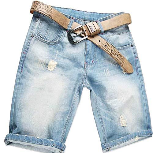 AITESEN Herren Denim Bermuda Jeans Shorts Sommer Kurze Hose hellblau Ohne Guertel W28-W44 W44