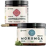 Organic KSM-66 Ashwagandha + Organic Moringa - Vegan Capsules - 2 Month Supply - Reduce Stress Fatigue Tension Worry Laziness - Boost Energy Immunity Performance Memory Focus - Supplement Bundle Pack