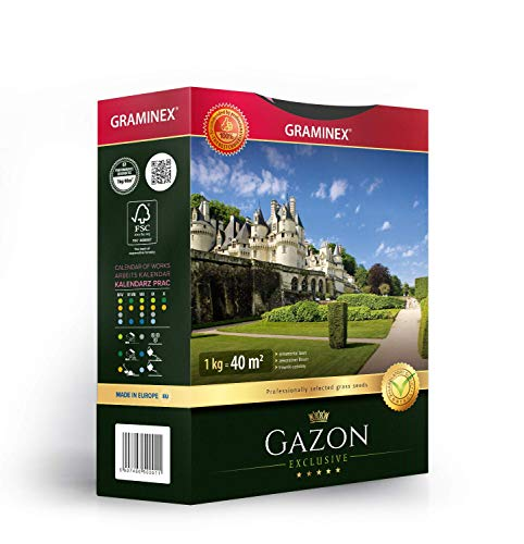 Graminex Luxury Gazon Grass Seeds, Premium, Proffesional's Choice for Ornamental Lawn, Made in EU, 1kg for up to 40 sqm (430 sq ft)