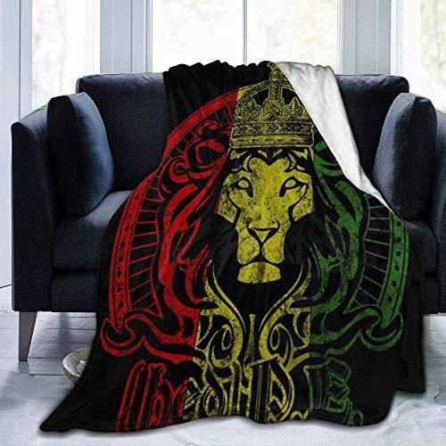 Romance-and-Beauty Afrikanische Flagge Der Löwe von Juda Rasta Rastafari Flanell Fleece Decke 60