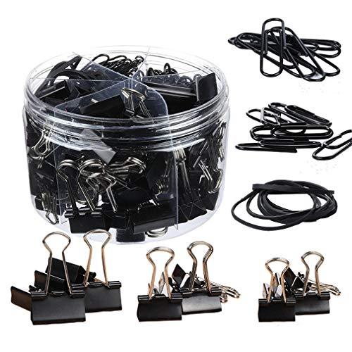 Binder Clip Set mit Box Gummibänder, Papierklammern, verschiedene Farben Einheitsgröße 240pcs-black