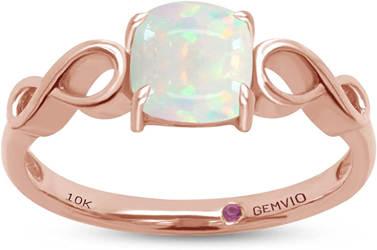 GEMVIO Collection 6/8 CTTW 6MM Cushion Cut Natural Opal Gemstone Infinity Solitaire Engagement Wedding Anniversary Ring in in 10K, 14K or 18K Solid Gold Jewelry For Women