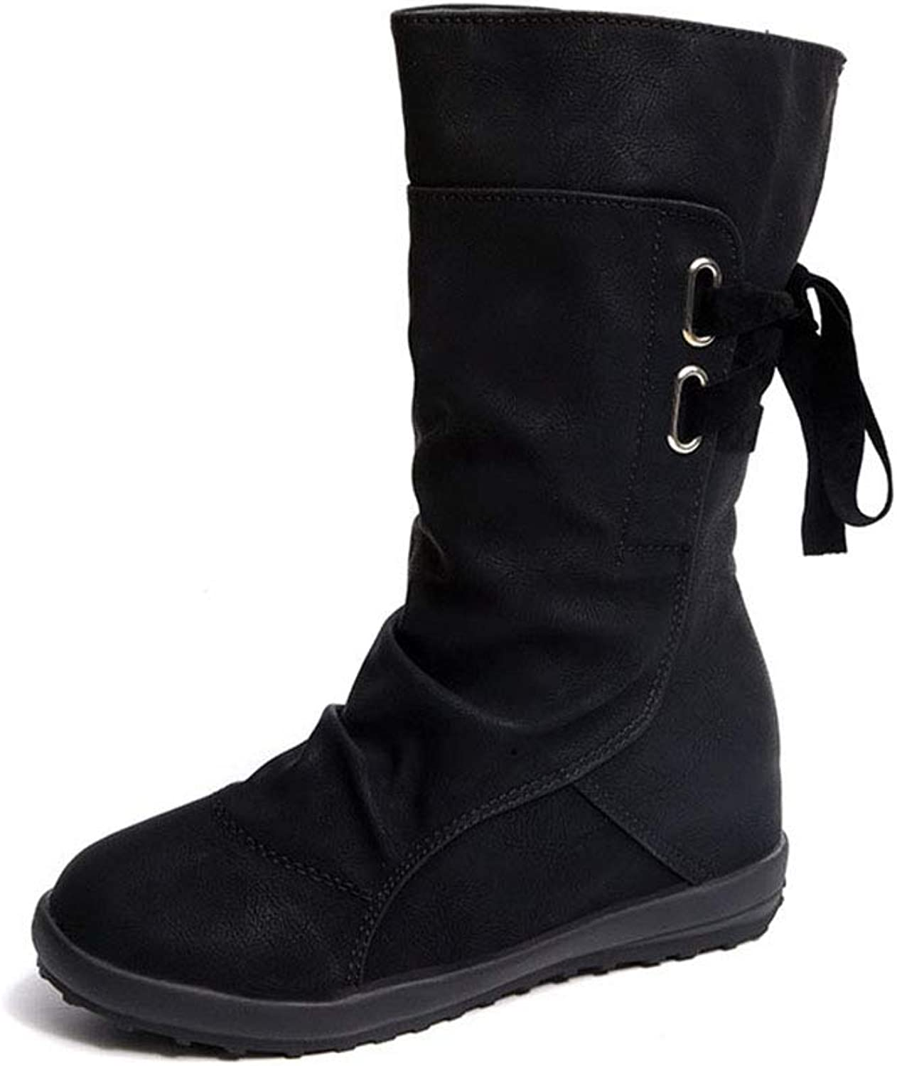 Endand PU Leather Boots Flats Mid Calf Boots Autumn Winter Sexy Snow Boots shoes for Woman Fashion Lace Up Boots