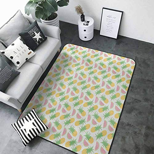 Bathroom Carpet Summer,Pineapples and Watermelons Doodles on a Dotted Scales Background,Pink Apple Green and Yellow 84 x 60 in Best Floor mats