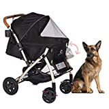 HPZ Pet Rover XL Extra-Long Premium Heavy Duty Dog/Cat/Pet Stroller Travel Carriage with Convertible Compartment/Zipperless Entry/Pump-Free Rubber Tires for Small, Medium, Large Pets (Black)