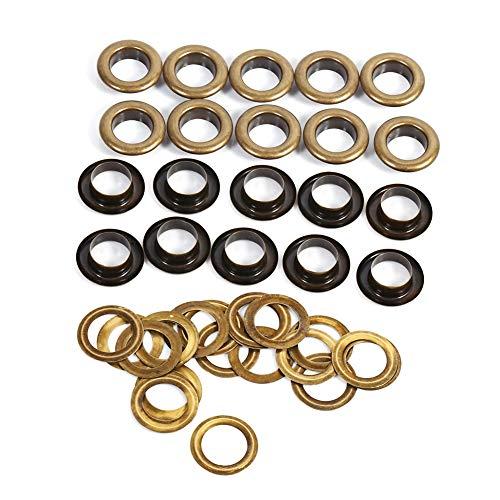 8/10/12/14/17mm Antieke Brass Eyelet Grommets Kit met ringen voor leer, canvas, kleding, schoenen, riemen, tassen, doe-het-zelf ambachten
