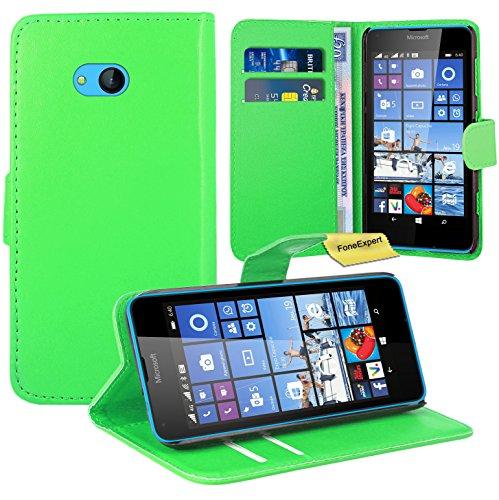 Microsoft Lumia 640 Handy Tasche, FoneExpert® Wallet Case Flip Cover Hüllen Etui Ledertasche Lederhülle Premium Schutzhülle für Microsoft Lumia 640 / 640 Dual SIM (Grün)