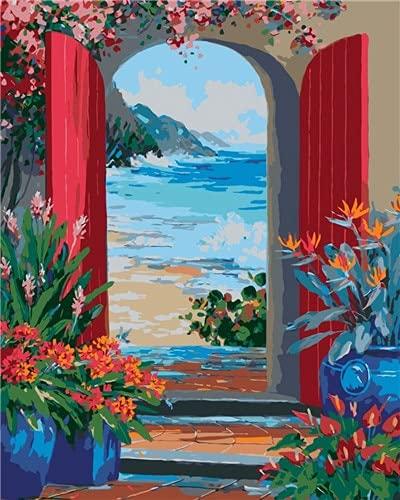 DIY para colorear por números dibujo de puerta sobre lienzo regalo hecho a mano pintura al óleo por números decoración de paisaje para el hogar W3 60x75cm
