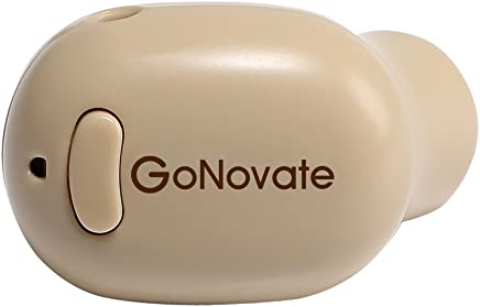 GoNovate G10 Wireless Earpiece, Smallest Wireless Earbud with 5.5 Hour Playtime, Earphone with Mic for iPhone Samsung Galaxy and Other Smartphones (Khaki)
