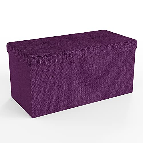 INTIRILIFE Faltbare Sitzbank 76x38x38 cm in Nebel LILA - Sitzwürfel mit Stauraum und Deckel aus Stoff mit Mulden - Sitzcube Fußablage Aufbewahrungsbox Truhe Sitzhocker