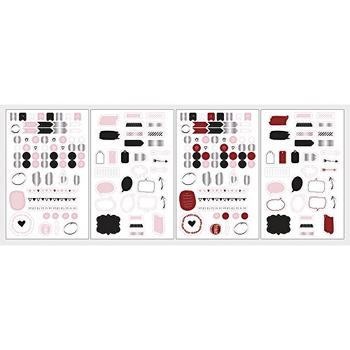 Rayher 60784000 Sticker Worte+Icons, Rot/Rosa/Schwarz, FSC Mix Credit