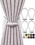 TECVINCI Magnetvorhang Raffhalter mit Upgrade Größerer Magnet, 4er Pack 40cm Vorhanghalter für Innen- & Außenvorhänge - Silbergrau