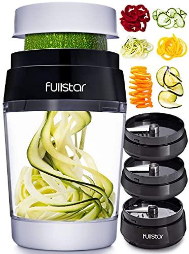 Fullstar Vegetable Spiralizer Vegetable Slicer - Zucchini Spaghetti Maker Zoodle Maker Veggie Spiralizer Adjustable Handheld Spiralizer Zucchini Noodle Maker Zucchini Spiralizer with Container 6 in 1