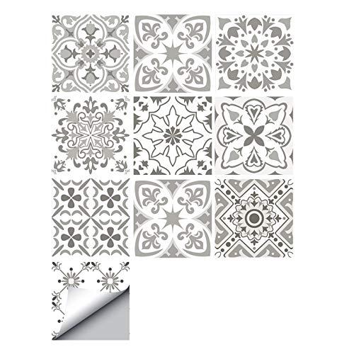 decalmile 10 Piezas Pegatinas de Azulejos 15x15cm Gris y Blanco Marroquí Adhesivo Decorativo para Azulejos Cocina Baño Decoración