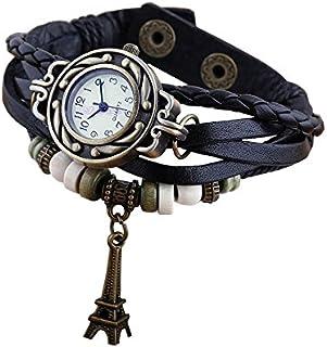 小さくてコンパクト Boolavard®TMEIFFELTOWERクォーツファッションウィーブラップアラウンドレザーブレスレットレディース腕時計