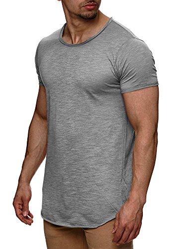 S!RPREME Herren T-Shirt Kurzarm Basic Longshirt Oversize Slim Fit Grau 3XL