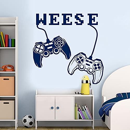 Calcomanía de pared de juego, nombre personalizado, Joystick, ventana, reproductor, pegatina, habitación de niño adolescente, decoración de guardería,...