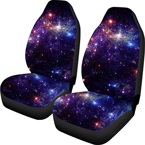 NDISTIN Cool Galaxy Car Seat Covers Blue Winter Warm Front Seat Protector Cover Mat Full Set of 2pc Universal Durable Bucket Seat Cover for Car SUV Automotive