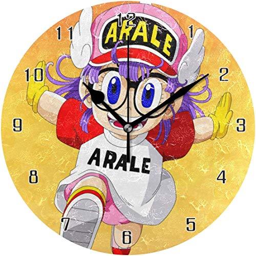 Wohnkultur Dragon Ball Arale Norimaki runden Stil, stille nicht tickende Wanduhr, batteriebetriebene Kunst dekorativ für Küche, Wohnzimmer, Kinderzimmer und Kaffee Dekor (10 Zoll)
