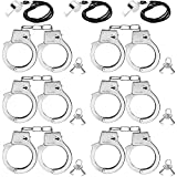9.8Inch Metal Handcuffs for Kids, Costume Accessories Metal Handcuffs, 6PCS Pretend Play Toy Hand Cuffs with Keys, 3Whistles