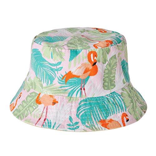Zlyc Fischerhut mit niedlichem Tiermotiv, unisex, für Reisen Gr. Einheitsgröße, Flamingos Tropischer Dschungel, Pink