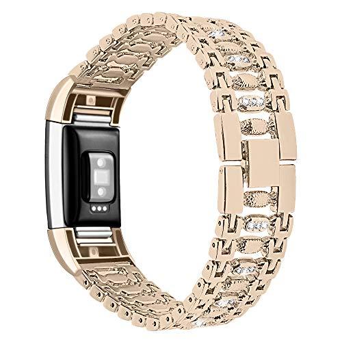 XIALEY Correa De Repuesto para Mujer Compatible con Fitbit Charge 2, Correas De Metal con Diamantes De Imitación, Pulsera De Acero Inoxidable Banda para Charge 2 Fitness Tracker,Vintage Gold