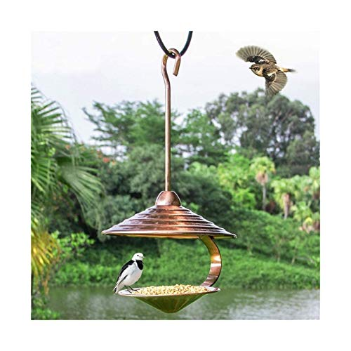 Alimentador de Aves de Aves de aleje de Aves de Cobre galvanoplato Alimentador de Aves de Alto Colgante, para jardín Árbol al Aire Libre Diseño de Gancho único Bandeja de Alimentos