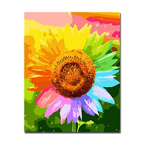 NIMCG Kit Digital para Pintura Digital Dibujo para Colorear Girasol Decoración para el hogar Arte de Pared Impreso en Lienzo (Sin Marco) 40x50CM