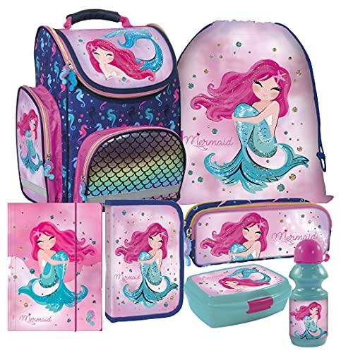 Meerjungfrau Mermaid 7 Teile Set Schulranzen Ranzen Federmappe Tornister Brotdose mit Sticker-von-Kids4shop
