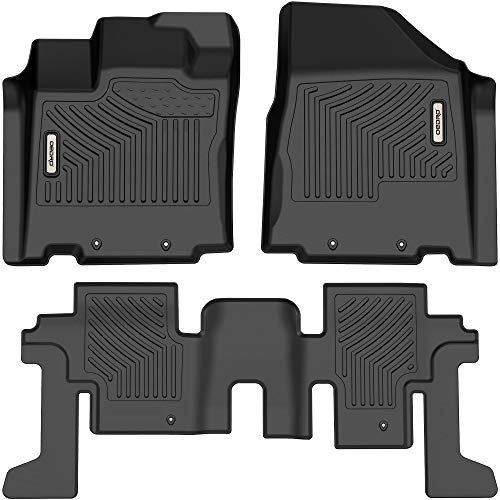 oEdRo Floor Mats Compatible with 2013-2020 Nissan Pathfinder2013 Infiniti JX35/2014-2020 Infiniti QX60, Custom Fit Front & 2nd Seat 2 Row Liner Set - Black TPE All-Weather Guard