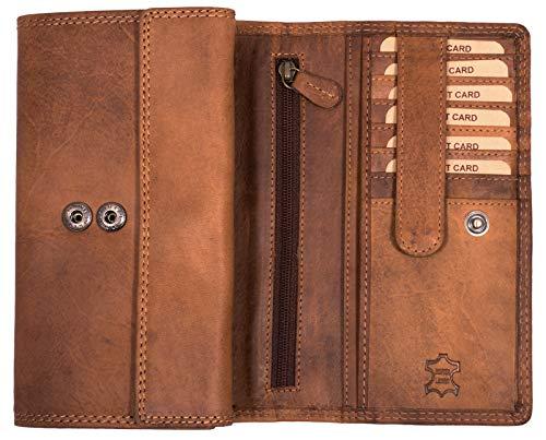 Hill Burry Echt-Leder Damen Geldbörse RFID | hochwertiges Vintage Leder Geldbeutel - XXL weiches Portemonnaie/Portmonee (Braun -)