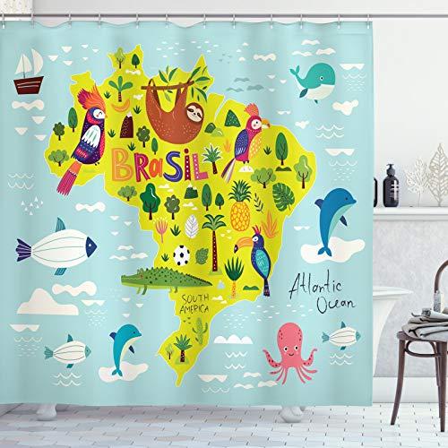 ABAKUHAUS Krokodil Duschvorhang, Brasil Map Symbolischer Artikel, Personenspezifisch Druck inkl.12 Haken Farbfest Dekorative mit Klaren Farben, 175x220 cm, Blassblau Multicolor