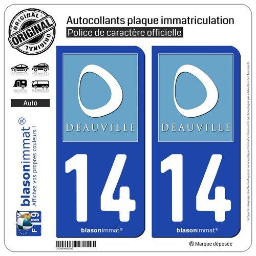 Blasonimmat - 2 pegatinas para placa de matrícula de coche 14 Deauville - Turismo