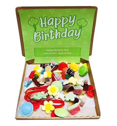 Happy Birthday Pick N Mix Retro Sweets Box Sweet Candy Hamper - 300g - Personalised Gift Message - Green