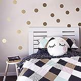 48 Stück Punkte Dots Gold Aufkleber Wandtattoo Kinderzimmer Baby Wand Deko