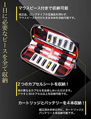 ELPIRKAプルームテックケース【3本分+2シート収納・コンパクト・超軽量・高級カーボンレザー】(ダブル)