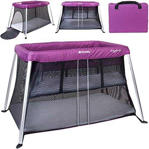 Bassinet - Cuna de viaje con 2 niveles, incluye colchón, cuna auxiliar, color lila