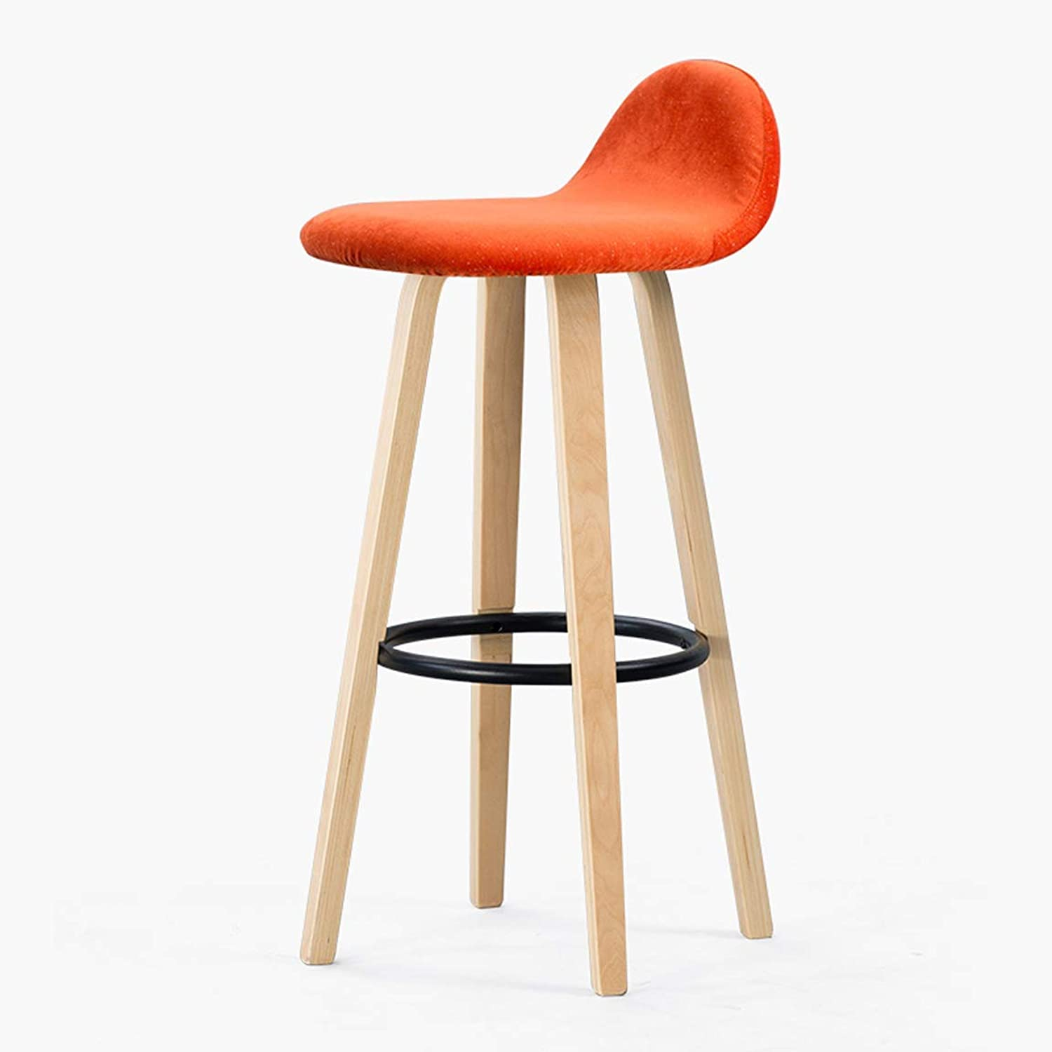 Carl Artbay Bar Chair Household Bar Stool Modern Bar Chair Solid Wood Nordic High Stool Primary color Legs 6 Strong and Practical