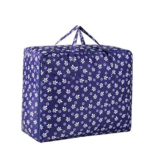 Motif de fleur de prunier bleu foncé 3 pièces de vêtements de couette paquet de finition sac de rangement Rollsnownow (taille : 58 * 40 * 22cm)