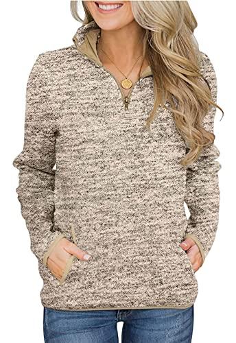AlvaQ Women Casual Winter Long Sleeve 1/4 Zip Pullover Tops Sweatshirts with Pockets Khaki Medium