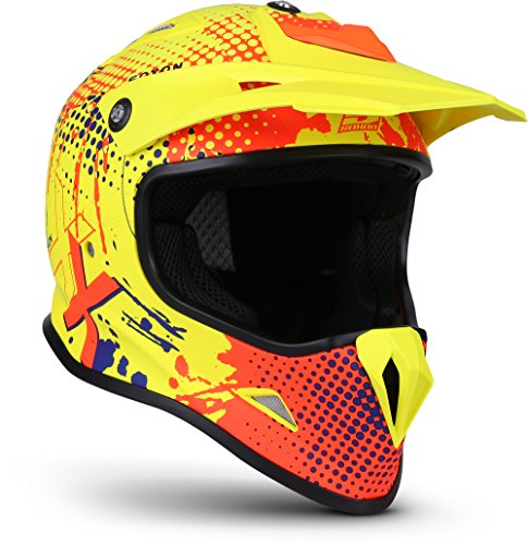 Casco motocross amarillo decorado en rojo